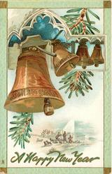 bells, four bells, left is largest, shepherd scene below