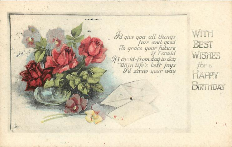 WITH BEST WISHES FOR A HAPPY BIRTHDAY vase of roses, letters
