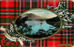 GREETINGS FROM THE TROSSACHS, LOCH ACHRAY AND BEN VENUE   MACDOUGALL tartan