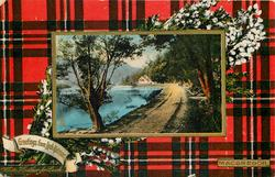 GREETINGS FROM LOCH KATRINE, PATH BY THE LOCH    MACGREGOR tartan