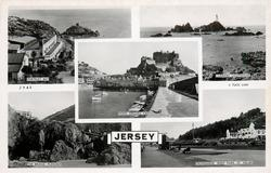 5 insets PORTELET BAY/CORBIERE LIGHTHOUSE/MONT ORGUEIL CASTLE/THE BRIDGE, PLEMONT/PROMENADE, WEST PARK, ST.HELIER