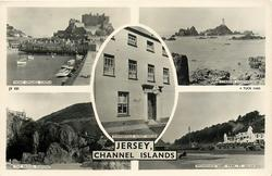 5 insets  MONT ORGUEIL CASTLE/CORBIERE LIGHTHOUSE/SUMMERVILLE GUEST HOUSE/THE BRIDGE, PLEMONT/PROMENADE WEST PARK/ ST. HELIER