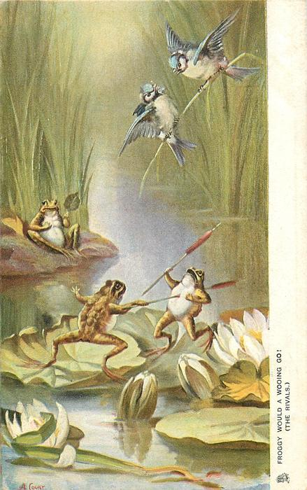 FROGGY WOULD A WOOING GO! (THE RIVALS.)  frogs dueling with bullrushes, two tits duel above