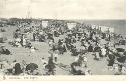 THE BEACH, SOUTHSEA  many people on beach