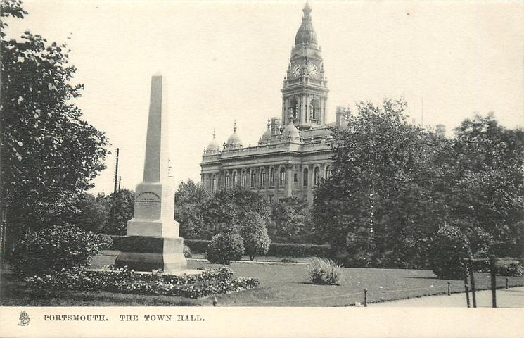 THE TOWN HALL, PORTSMOUTH  monument  front