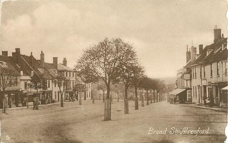 BROAD ST. church not visible, view of shops & avenues of trees