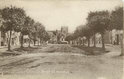 BROAD ST. church at end of street, avenue of trees both sides