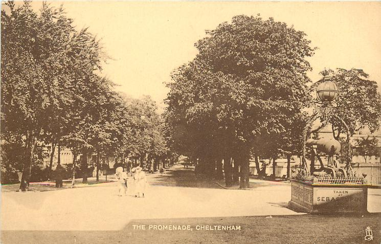 THE PROMENADE monument front right, two people on path