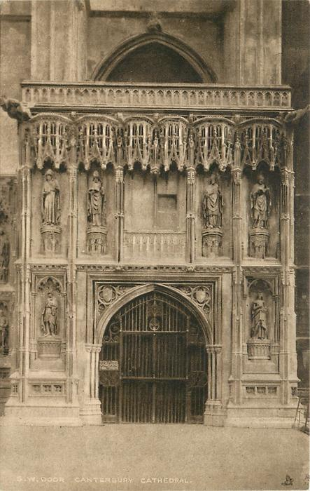 SOUTH WEST DOOR CANTERBURY CATHEDRAL & SOUTH WEST DOOR CANTERBURY CATHEDRAL - TuckDB Postcards