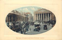 THE BANK OF ENGLAND AND ROYAL EXCHANGE double decker left with DEWAR'S ad, lamp post left