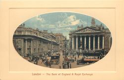 THE BANK OF ENGLAND AND ROYAL EXCHANGE horsedrawn facing left, lamp post centre