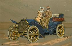 man and woman in blue car