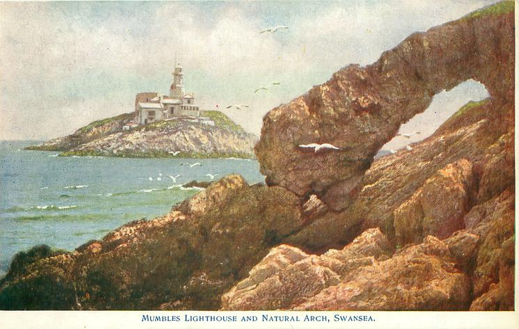 MUMBLES LIGHTHOUSE AND NATURAL ARCH, SWANSEA