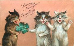 LOVING NEW YEAR GREETINGS  three cats, two white, one brown who holds four leaf clover, pink background