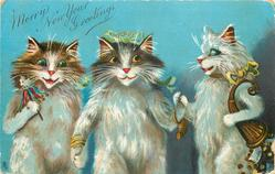 MERRY NEW YEAR GREETINGS  three cats walking together