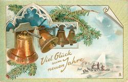 VIEL GLUCK ZUM NEUEN JAHRE 4 bells, sheperds bottom right
