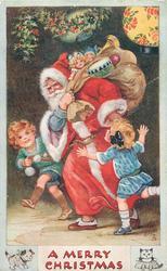 A MERRY CHRISTMAS  Santa moves left, sack of toys over shouilder, children each side of him