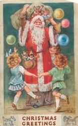 CHRISTMAS GREETING  Santa stands, sack of toys over shoulder, 3 children dance around him, balloons around