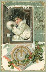 NEW YEAR GREETINGS  woman wearing a muff holds snowball in window above clock