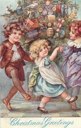 CHRISTMAS GREETINGS, three children dancing round tree
