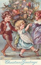 CHRISTMAS GREETINGS  three children dancing round tree
