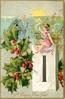 A HAPPY NEW YEAR  girl sits on calendar with hourglass, waving to old year leaving left, sun above