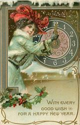 WITH EVERY GOOD WISH FOR A HAPPY NEW YEAR  woman turns hands of clock