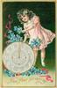 NEW YEAR GREETINGS  girl stands above clock with blue forget-me-nots
