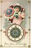NEW YEAR GREETINGS  girl above clock with bouquet of flowers & valentine