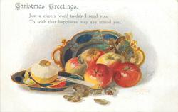 CHRISTMAS GREETINGS  plates with six apples, one half peeled