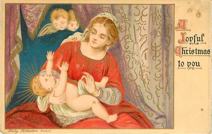 A JOYFUL CHRISTMAS TO YOU  two angels peek from above at baby Jesus who reaches up from  Madonna's lap