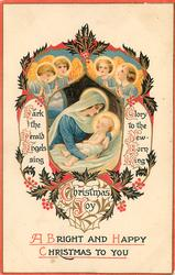 A BRIGHT AND HAPPY CHRISTMAS TO YOU  HARK THE HERALD ANGELS SING GLORY TO THE NEW-BORN KING  four angels above inset of madonna & child