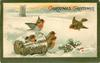 CHRISTMAS GREETINGS  snow scene, five robins & basket, holly lower right