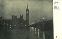 WESTMINSTER BRIDGE AND THE HOUSES OF PARLIAMENT AT MIDNIGHT