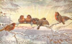 THE WORLD IS HAPPY, THE WORLD IS WIDE, KIND HEARTS ARE BEATING ON EVERY SIDE six robins on snowy branches