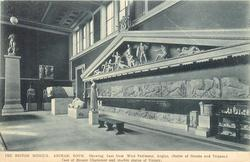ARCHAIC ROOM, SHOWING CAST FROM WEST PEDIMENT, AEGINA, (BATTLE OF GREEKS AND TROJANS)  CAST OF BRONZE CHARIOTEER AND MARBLE STATUE OF VICTORY
