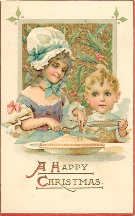 A HAPPY CHRISTMAS  mother about to cut pie for boy