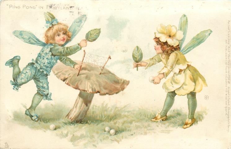 ball in air between boy fairy left in blue & girl fairy right in yellow/green