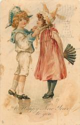 A HAPPY NEW YEAR TO YOU  boy adjusts hat ribbon of girl who has fan held behind her