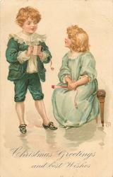 CHRISTMAS GREETINGS AND BEST WISHES  boy stands with dance card, left, and girl sits on bench, right