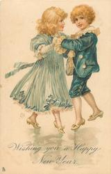 WISHING YOU A HAPPY NEW YEAR  boy in blue suit dances with girl in pale blue dress