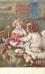 CHRISTMAS GREETINGS (3 types) or JOYEUX NOEL(in gilt)  two girls play with toys on bed