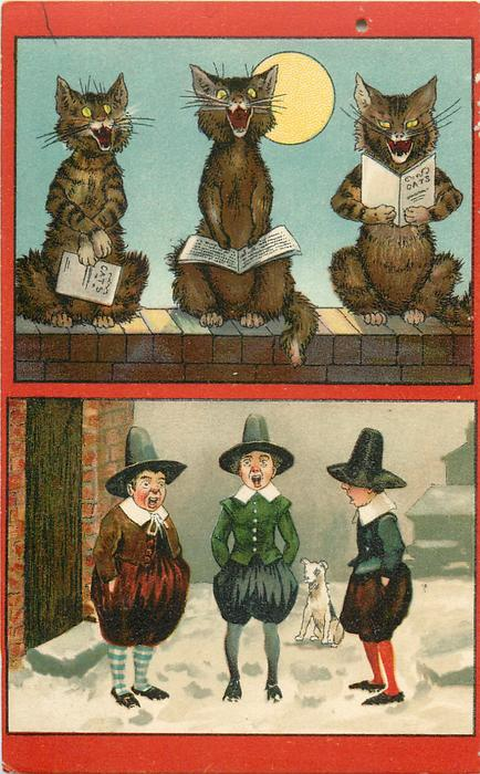 2 insets, top: three personized cats sit singing on wall, bottom: three  youths in old style dress sing carols in snow