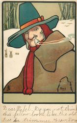 man in brown, torn coat smokes pipe, wearing green hat with red ribbon, snow, rabbits behind