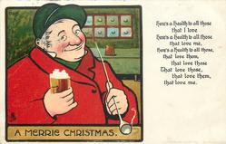 A MERRIE CHRISTMAS  smiling coachman with pipe in left hand, glass of ale in the right