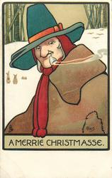A MERRIE CHRISTMASSE  man in brown with green hat, pipe in mouth