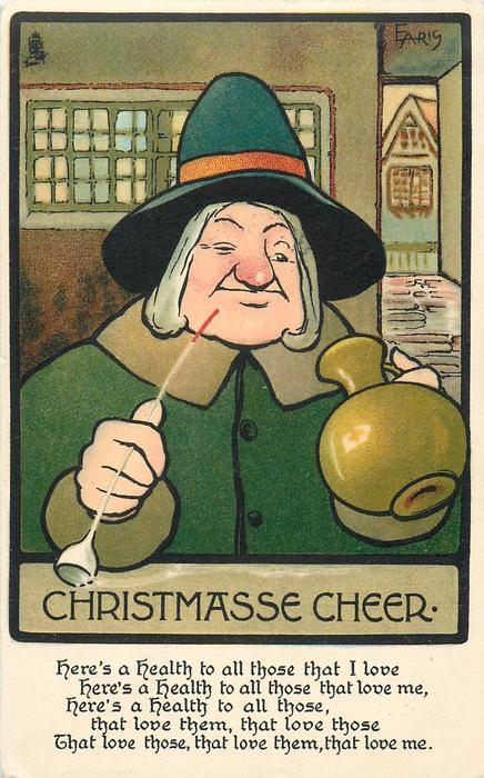 CHRISTMASSE CHEER  man in green, pot in one hand, pipe in the other