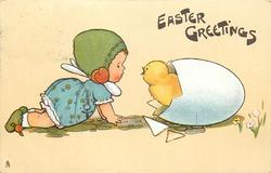 EASTER GREETINGS  girl crawling while looking at chick coming out of egg