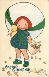 EASTER GREETINGS  girl wearing big hat holds chick and egg full of flowers