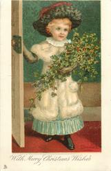 WITH MERRY CHRISTMAS WISHES  girl in white fur coat brings in ivy